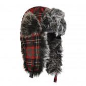 Chapka écossaise rouge, fourrure gris/noir
