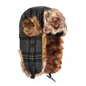 Chapka écossaise bleue, fourrure marron