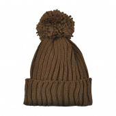 Bonnet pompon, Marron