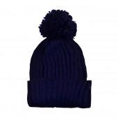 Bonnet pompon, Bleu