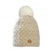 Bonnet blanc, pompon Racoon
