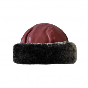 Toque simili cuir, rouge