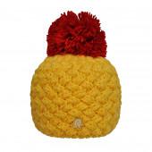 Bonnet jaune, pompon rouge