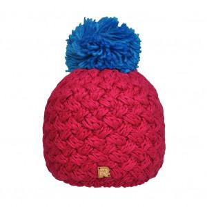 Bonnet fushia, pompon bleu