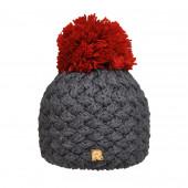 Bonnet gris, pompon rouge