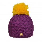 Bonnet violet, pompon jaune