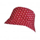 Chapeau imperméable rouge à pois