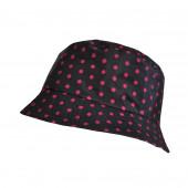 Chapeau imperméable noir à pois framboise