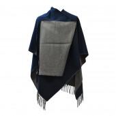 Poncho réversible bleu/gris