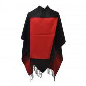 Poncho réversible noir/rouge