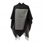 Poncho réversible noir/gris