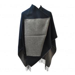 Poncho réversible bleu/gris foncé