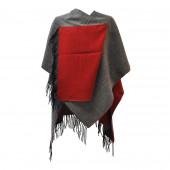 Poncho réversible gris/rouge