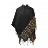 Poncho léopard noir
