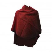 Poncho Sahara rouge arrondi
