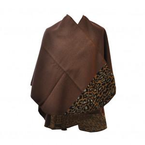 Poncho léopard marron arrondi