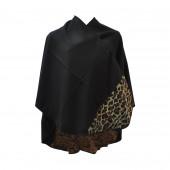 Poncho léopard noir arrondi