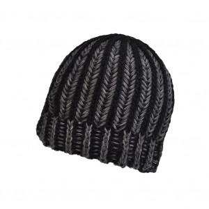 Bonnet torsade Noir/Gris