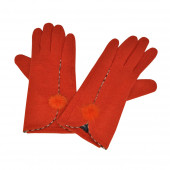 Gants Orange en cachemire à pompons lapin