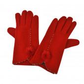 Gants Rouges en cachemire à pompons lapin