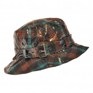 Chapeau de pluie à carreaux Turquoise /Marron, Aspect ciré