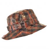 Chapeau de pluie à carreaux Orange /Marron, Aspect ciré
