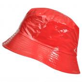 Bob vinyle uni rouge aspect ciré