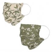 Lot de deux masques en tissu, avec poche intégrée pour filtre, lavable et réutilisable. Coloris imprimé Kaki/Ecru