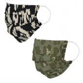 Lot de deux masques en tissu, avec poche intégrée pour filtre, lavable et réutilisable. Coloris imprimé Noir / Kaki