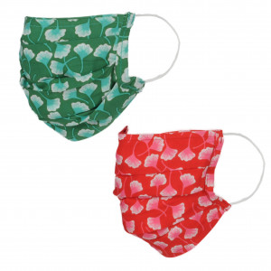 Lot de deux masques en tissu, avec poche intégrée pour filtre, lavable et réutilisable. Coloris imprimé vert/rouge