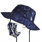 Capeline bleue avec masque en tissu lavable et réutilisable