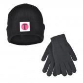 Set Bonnet et Gants tactiles en Laine couleur noir
