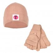 Set Bonnet et Mitaines avec moufles amovibles - couleur chair