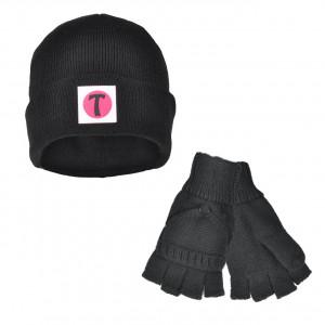 Set Bonnet et Mitaines avec moufles amovibles - couleur Noir