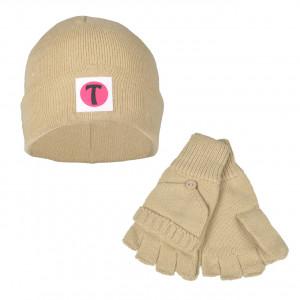 Set Bonnet et Mitaines avec moufles amovibles - couleur stone