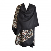 Poncho Full léopard noir arrondi