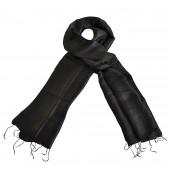 Foulard en soie sauvage noir corbeau