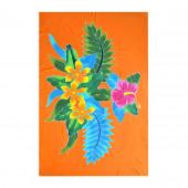 Paréo batik fleurs fond orange