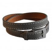 Bracelet en cuir gris