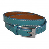 Bracelet en cuir Bleu ciel