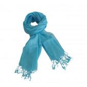 Echarpe en lin de couleur bleu turquoise