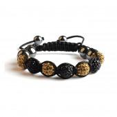 Shamballa 7 Perles - Noir / Gold