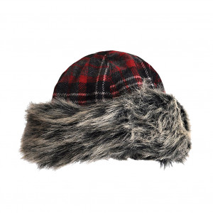 Toque fourrure écossais rouge