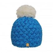 Bonnet turquoise, pompon écru