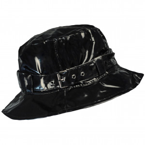 Chapeau de pluie à boucle uni, réglable,  de couleur noir, Aspect ciré