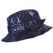 Chapeau de pluie à boucle uni, réglable,  de couleur bleu marine, Aspect ciré
