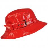 Chapeau de pluie à boucle uni, réglable,  de couleur rouge, Aspect ciré
