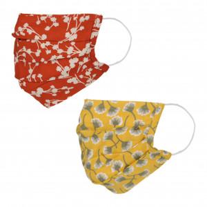 Lot de deux masques en tissu, avec poche intégrée pour filtre, lavable et réutilisable. Coloris imprimé Jaune/Terracotta