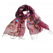 Foulard en soie, Fleurs géométriques bordeaux