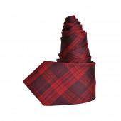 Cravate en soie tartan rouge